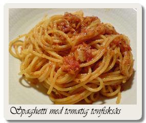 spaghetti med tomatig tonfisksås